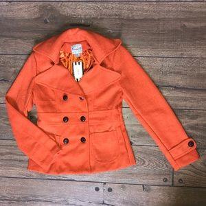 Forever 21 wool blend orange pea coat (Med)